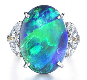 Platinum Ring with Black Opal