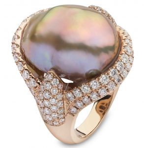 Rose Gold Ring with Baroque Freshwater Pearl